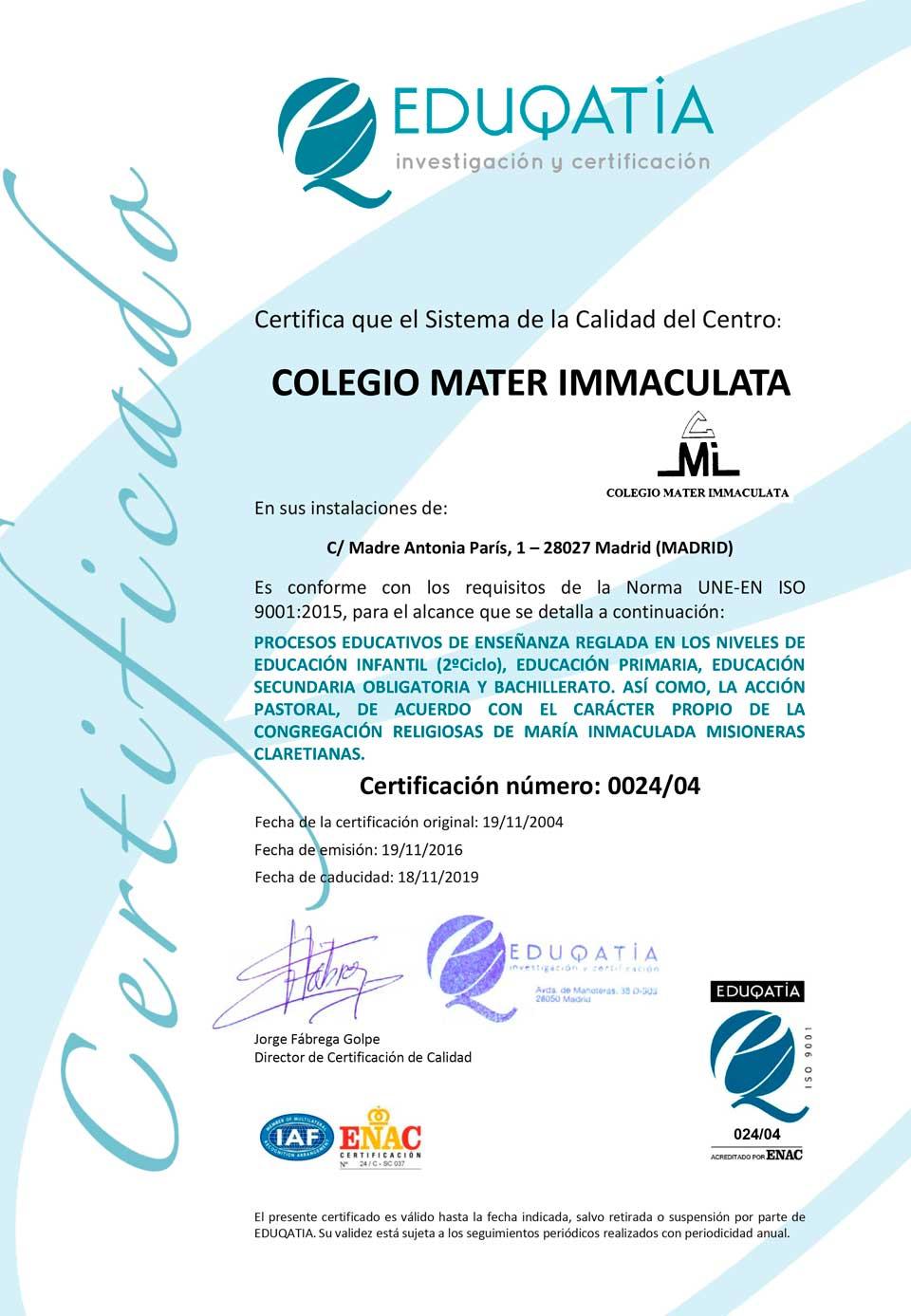 Educación certificada UNE EN-ISO Eduqatia